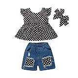 2021 Tops de verano con volantes y botones para bebés y niñas, pantalones cortos de mezclilla rasgados