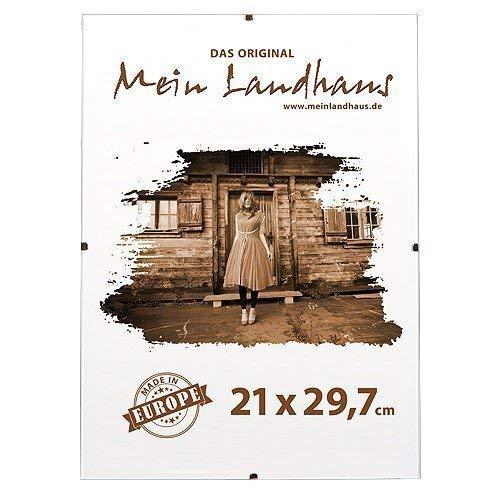 Mein Landhaus Bilderrahmen Rahmenlos | Din A 4 Rahmen für Urkunden und Bilder | Glasrahmen 21cm x 29,7cm (3 STK.)