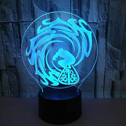 Surf 3D Óptico de la Ilusión de la Lámpara LED7 Color de la Mesita de noche de la Decoración del Hogar Iluminación Dormitorio Oficina Atmósfera de la Lámpara de Cumpleaños de Vacaciones Novedad Regalo