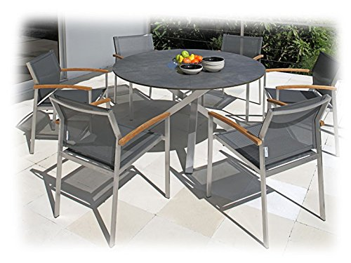 ORYX & SETAX Gartenmöbel Sitzgruppe 7-teilig Gartenset Zebra Teak recycelt & Batyline Anthrazit