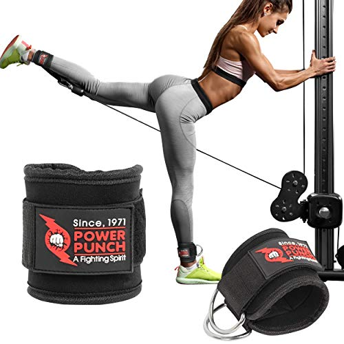 Pair of POWER PUNCH Ankle Straps for Cable Machines | Glute Workouts | Leg Workouts | Weight Machines | Leg Extensions | Cable Kickback | Neoprene Padded Support for Men and Women (Black)…