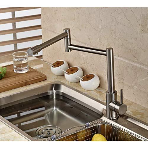 Grifo de cocina elástico plegable de níquel cepillado Montaje en cubierta Mezclador de cocina giratorio de una sola manija con grifos de agua fría y caliente