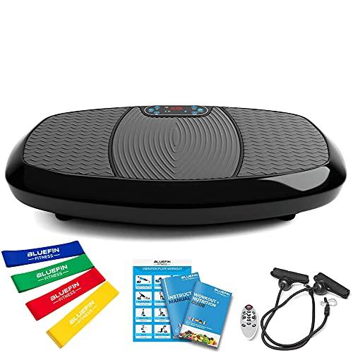 Bluefin Fitness Plataforma Vibratoria 3D con Doble Motor Gran Superficie Anti-Deslizante | Altavoces Bluetooth | Ideal para Perder Peso | Diseño Británico (Negro)