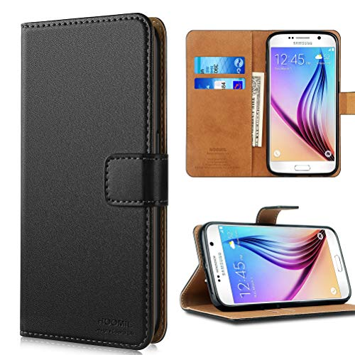 HOOMIL Samsung Galaxy S6 Case, Samsung Galaxy S6 Wallet Case Premium Leather Folio Case, Flip Book Style Wallet Cover with TPU Shockproof, Stand, Card Slots and Cash Pocket for Samsung Galaxy S6 Black