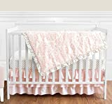 Blush Pink White Damask and Gold Polka Dot Amelia Girl Baby Bedding 4 Piece Crib Set