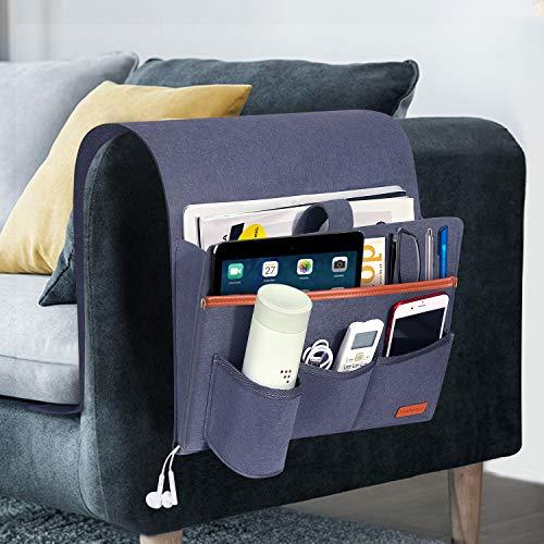 SIMBOOM Bolsillo de Sofá Reposabrazos, Organizador para Cama Grande para Mandos, Móvil, Gafas, Revistas o iPads - Gris Azulado