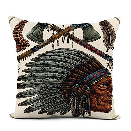 phjyjyeu Linen Throw Pillow Cover Eagle of Old Native Americans Tattoos Indian Warrior Western Home Decor Pillowcase 20x20 Inch Cushion Cover For Sofa Couch Bed and Car 16\ X 16\(IN)