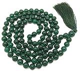 Givereldi Agata verde scuro bracciale di perle di mala 108 perline da 6 mm di larghezza - con nodi in mezzo più 1 grande guru di perline - collana di preghiera, meditazione o nappa