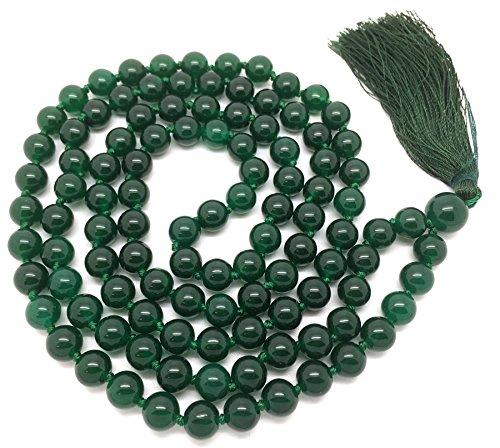 Givereldi pulsera de collar de cuentas de mala ágata verde oscuro 108 cuentas de 6 mm - con nudos más 1 cuenta de gurú grande - piedra de nacimiento, equilibrio energético, oración, meditación