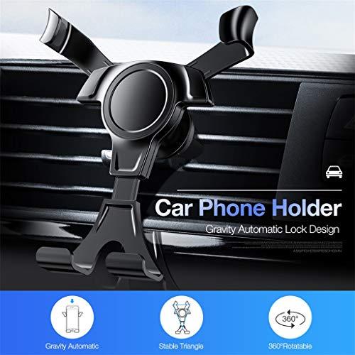 Mobilhållare hållare, Nourich bil mobiltelefon hållare bilhållare gravitation biltelefonhållare ventilationsspår bilmobiltelefon hållare hållare mobiltelefon för iPhone XS/Max för Samsung S10 (svart)