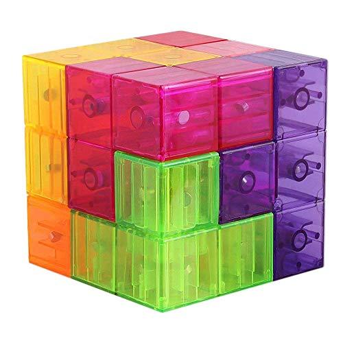 Mallalah Bloques de construcción magnéticos 3D Tetris Puzzle para niños Alivio del estrés Juguete Imán Cuadrado Cubo Adulto IQ Juego Size A