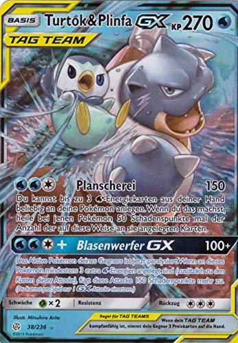 38/236 - Turtok & PlinfaGX - Ultra Rare GX - Pokemon - Deutsch - Welten im Wandel - 1. Auflage im Set mit Ultra Pro Toploader und Ultra Pro Schutzhülle (Klarsicht)