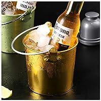 キャリーハンドルのステンレススチールビールのバケツシャンパンワインバレルを持つアイスバケツホームバーのためのバケツシャンパンワインバレルビールとワインを冷やす - 氷の寒さを保つ Gold - - 1615ml