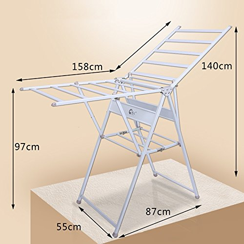 Balkon-Trockner, Baby-Windel-Racks, Edelstahl-Boden faltende Tragflächen-Racks ( größe : 158*55*140cm )