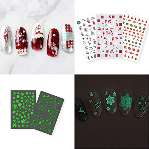 Christmas Nail Stickers Set for Women Girls, Luminous Christmas Self Adhesive Nail Decals Decorations, DIY Nail Art Stickers Designs with Glow Snowflake, Xmas Tree (2 Luminous Styles+3 Normal Styles)