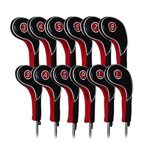 Craftsman Golfschlägerhauben für Golfschläger, 12 Stück, Schwarz und Rot, passend für alle Marken Titleist, Callaway, Ping, Taylormade, Cobra, Nike, etc.