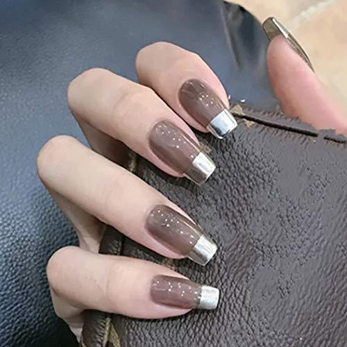 Brishow Künstliche Nägel Falsche Nägel Grau Lange Sargform Nägelspitzen gefälschte Nägel Acryl Falsche Nagelspitzen 24Pcs für Frauen und Mädchen