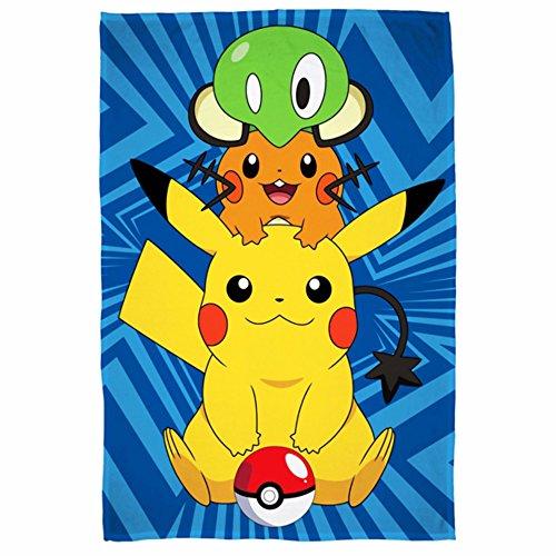 Pokemon Catch' Fleece-Decke – großes Druck-Design, Polyester, Mehrfarbig, 100 x 0.03 x 150 cm