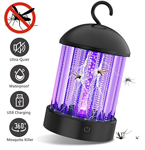PRANITE BK001 Bug Zapper Electronic Mosquito Killer with Effective 2000V UV Light Non Toxic Insect Control 2-in-1 Attractant Trap Rechargeable Fly, Black