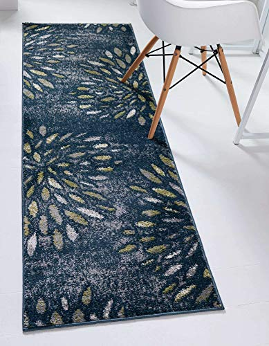 Unique Loom Sumter Collection Rhett Distressed Floral Runner Rug, 10 Ft, Navy Blue/Gray