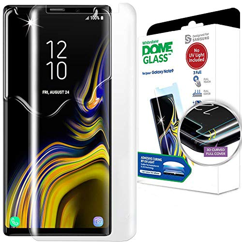 Galaxy Note 9 Screen Protector, [Dome Glass] Full 3D Curved Edge Tempered Glass Shield [NO UV Light Included] Backup Kit by Whitestone for Samsung Galaxy Note 9 (2018) - Replacement Only
