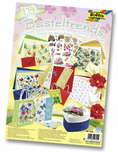 folia 942 - Basteltrends Kreativ, 114 Teile - Kreativset für Kinder und Erwachsene mit verschiedenen Trendmaterialien