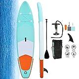 TTnideG Tabla Hinchable Board Y Accesorios,Stand-Up Paddle Surf De Sup, Grosor hasta 15Cm,Cubierta Antideslizante, Incluida Mochila, Remo Y Bomba De Mano, Carga hasta 120Kg