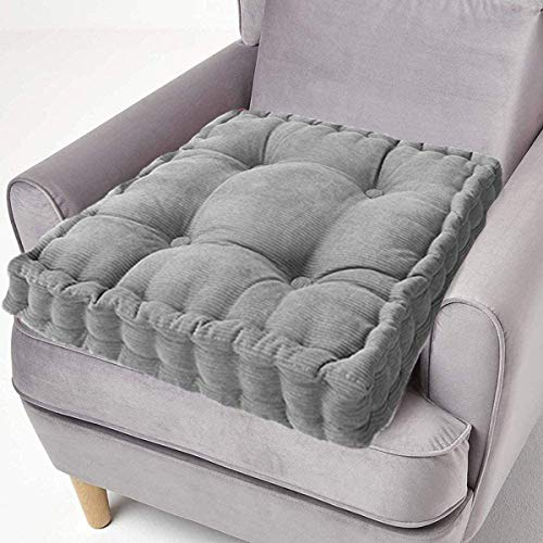 ping bu Sitzkissen aus Baumwolle, dick, quadratisch, 50 cm, für Sessel, Garten, Erwachsene, Stuhl (40 x 40 cm, grau)