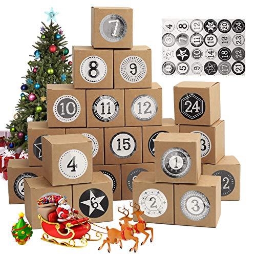 Ulikey 24 Calendario de Adviento, Cajas de Regalo, Bolsa de Regalo Navidad, Cajas de Calendario, Calendario Adviento con Adhesivos Digitales de Adviento, DIY Rellenar Calendario de Adviento (A)