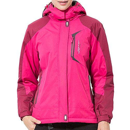 emansmoer Femme Coupe Vent Coton rembourré Doublé Polaire Manteau Hiver Imperméable Outdoor Sport Veste de Ski randonnée (XXX-Large, Rose Rouge)