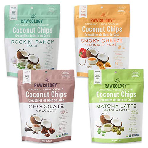 Rawcology Vegan Coconut Chips Variety Pack - Chocolate, Matcha Latte, Smoky Cheeze, Rockin' Ranch, 4 x 90 Gram Pack