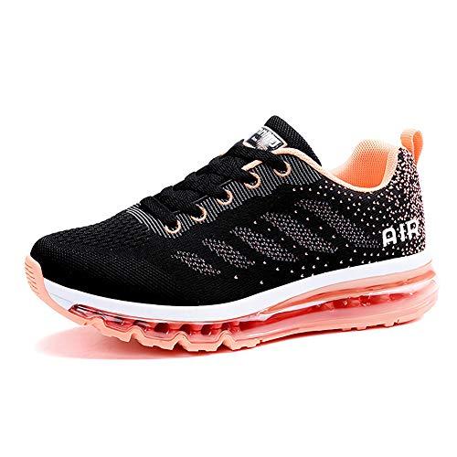 Air Zapatillas de Running para Hombre Mujer Zapatos para Correr y Asfalto Aire Libre y Deportes Calzado Unisexo Black Orange 41