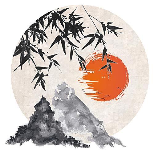 dekodino® Wandtattoo Asien Aquarell Landschaft mit Gebirge Wanddekoration