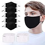 5 Pack Fashion Protective, Washable Reusable Black Cotton Fabric Comfty Breathable Outdoor Fashion Face Shields Protections Man and Woman,Activated Carbon Filter Replaceable 10pcs