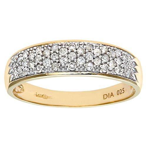 Naava 9ct Yellow Gold 0.25ct Diamond Pave Ring