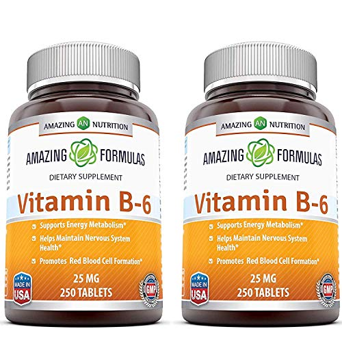 Amazing Nutrition Vitamin B6 Dietary Supplement – 25 mg, Pack of 2-250 Tablets – Supports Healthy Nervous System, Metabolism & Cell Health