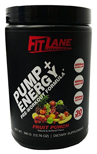 Pre Workout Powder for Men and Women. Best Tasting Preworkout Nitric Oxide Booster with Citrulline & Agmatine to Boost Endurance. Pump + Energy by Fit Lane Nutrition Fruit Punch Flavor, 30 Servings.