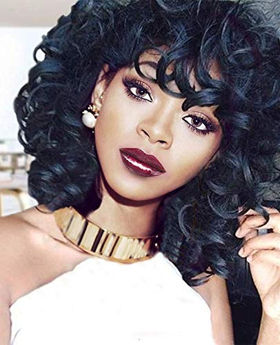 Curly Wigs for Black Women, Vvgymmo Short Black Afro Kinky Curly Hair Wig Natural Looking Heat Resistant Wigs P118
