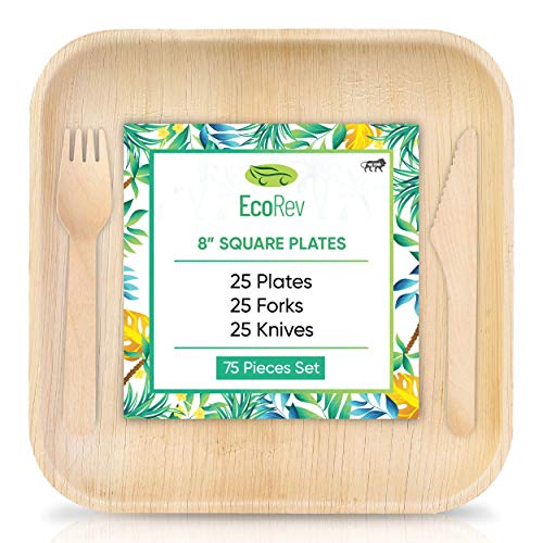 """EcoRev Palm Leaf Plates - Like Bamboo Plates Disposable Dinner Set - 25 8"""" Square Plates + 50 Wooden Cutlery (Forks & Knives) 100% Compostable Biodegradable Eco Friendly Plates (8 Inch)"""