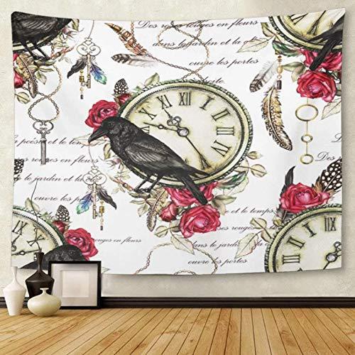 N/A Tapiz Flores de Acuarela Plumas de pájaro Cuervo Negro y Tapiz de Rosa roja Colgante de Pared para Sala de Estar Dormitorio Dormitorio