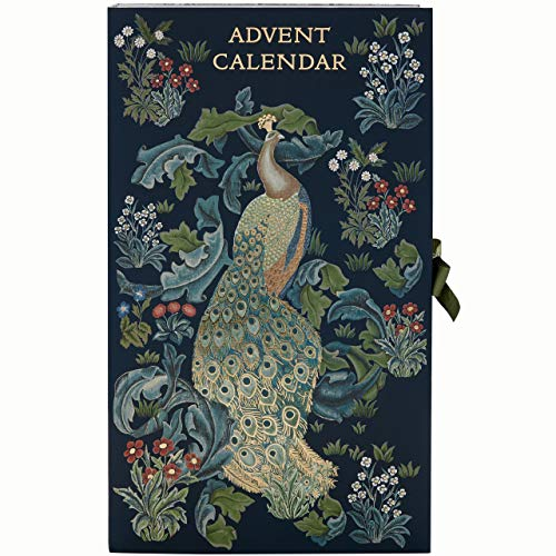 Morris & Co. Beauty Adventskalender Blue Forest Peacock Print mit 24 Bade- & Körperartikeln, verschiedene Schönheitsgeschenke