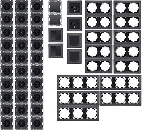 MILOS Steckdosen Schalter Unterputz Set 59-teilig IP44 Steckdose Wechselschalter IP44 Komplettset für Wohnzimmer, Büro, Küche, Badezimmer Grau Anthrazit