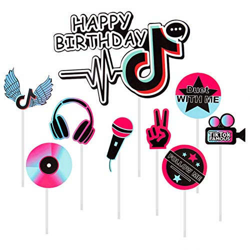 9pcs Happy Birthday Cake Toppers- Hot Music Themed Celebration Birthday Cupcakes Topper Short Video Birthday Party Decors Photo Booth Accessories Birthday Supplies for Cakes Chocolates Deserts Fruits