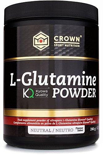 Crown Sport Nutrition L- Glutamina de calidad Kyowa, Suplemento para deportistas, Polvo sabor Neutro - 240 gr