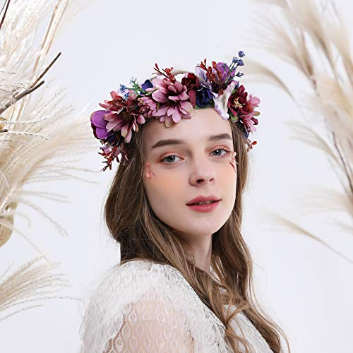 Floral Halo Boho Flower Headband Floral Crown Headpiece Hair Wreath with Ribbon Wedding Party Prom Photos Festival Purple by Vivivalue