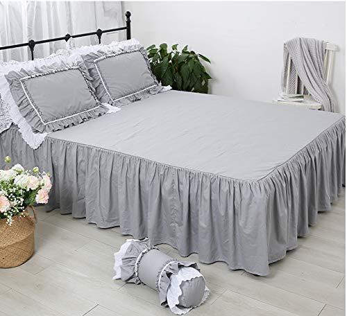 アンティーク風グレーのベッドスカート 無地 綿100% シングル