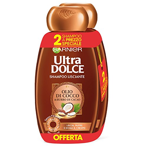Garnier Ultra Dolce Shampoo de cacao y aceite de coco para cabello liso o alisadora de, sin parabeni, Extracto Natural, 300ml, 3paquetes de 2