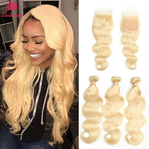 Beauhair 613 Blonde Body Wave Human Hair Bundles with Lace Closure 4×4 Swiss Lace Body Wave Brazilian Remy Hair Extensions (10Closure +12 14 16)