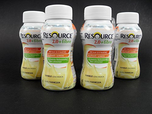 4 Batidos Resource 2.0 + Fibre, sabor vainilla, 200 ml