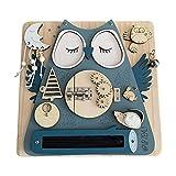 Montessori Busy Toy para niños pequeños, Eco Busy Toy para niños de 1, 2 o 3 años, madera hecha a mano, paneles de actividades educativas y motoras finas
